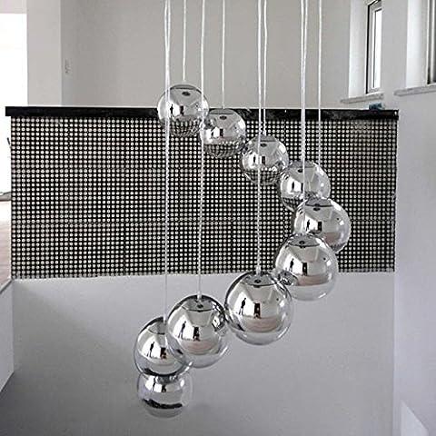 Hoobor House la mano colgante en la luz moderna lámpara de vidrio de espejo vacío lámparas de pared LED Lámpara de techo de cromo Global Dormitorio Principal Lámpara, diámetro de 35cm.