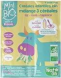 Nat-Ali Céréales Infantiles Bio 3 Céréales 6+ Mois 18 g - Lot de 8