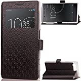 Etui Sony Xperia X Compact (View Window), basicstock Folio Flip PU Leather Wallet Notebook Stand Case Pouch with Card Holder/kickstand Magnetic Closure Hat...