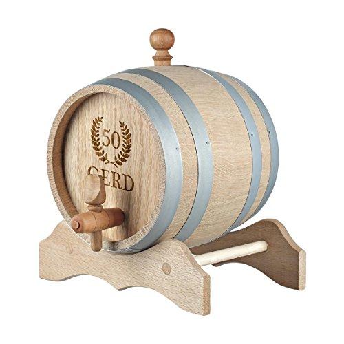polar-effekt 5 Liter Holzfass Personalisiert mit Namens-Gravur - Originelles Geschenk - Eichen-Fass für Whisky oder Wein - Geburtstagsgeschenk - Motiv Jubiläumskranz - 5-liter-eichenfass