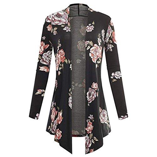 MIRRAY Damen Langarm unregelmäßige Print Casual Cardigan Mantel Tops Bluse