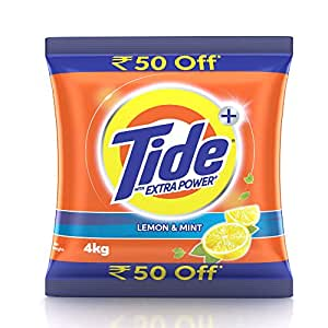 Tide Plus Detergent Washing Powder with Extra Power Lemon and Mint Pack - 4 kg