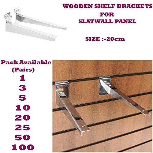 Nuovo 20cm Slatwall in legno resistente, Staffe da scaffale (Coppia) per accessori negozio
