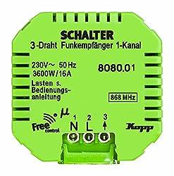 Kopp Funkempfänger Free-Control 1 Kanal/3-Draht, Funksystem für Haussteuerung, 150 m Reichweite, 868 MHz, 230 VAC/16A/50Hz, Unterputz Montage, integrierte Feldstärkenanzeige, 808001223