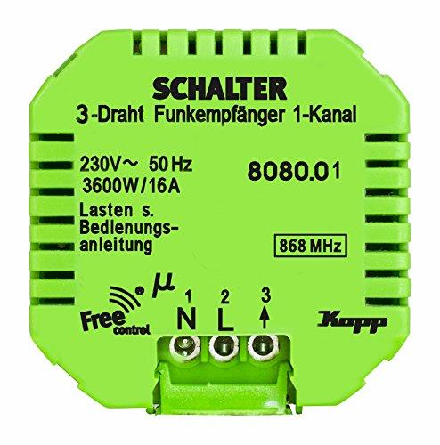 Kopp 808001223 Funk-Empfänger Free-Control 1 Kanal/3 Draht Neue Generation