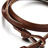 Herren Jungen Edelstahl Schwarz Anker Armband, Multi-strang Wickeln Schweissband Armreif mit Braun Lederriemen - 3