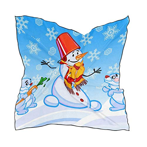 Women's A Snowman And Two Rabbits Print Small Square Polyester Satin Scarf Mixed Neck Wrap Headscarfches Band Hankie