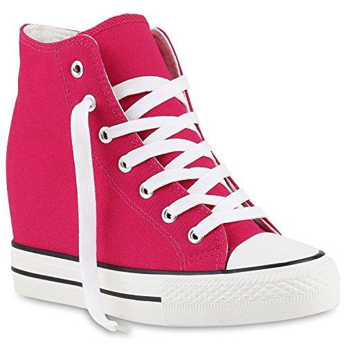 Damen Sneakers Stoff Sneaker Wedges Blumen Camouflage Sneaker Keilabsatz Details Zipper Denim Schuhe 139813 Pink 39 Flandell (Schuhe Frauen Pink Für Wedges)