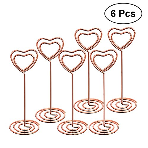 (BESTONZON 6pcs Hochzeit Tisch Nummer Halter Herz Form Clip Foto Halter Karte steht Halterungen (Rose Gold))