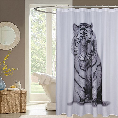 MEILI Polyester Black And White Tiger Print Shower Curtain 1 180180