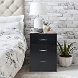 Black Bedside Table Nightstand Unit Cabinet / with 3 Drawers - Laura James Premium