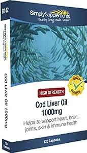 Olio di fegato di merluzzo 1000 mg - 120 capsule - Fino a 4 mesi di fornitura - Con Omega 3 per la salute cardiovascolare - SimplySupplements