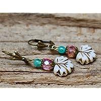 Vintage Ohrringe mit Glasperlen - Blätter - creme, rosa, azur & bronze
