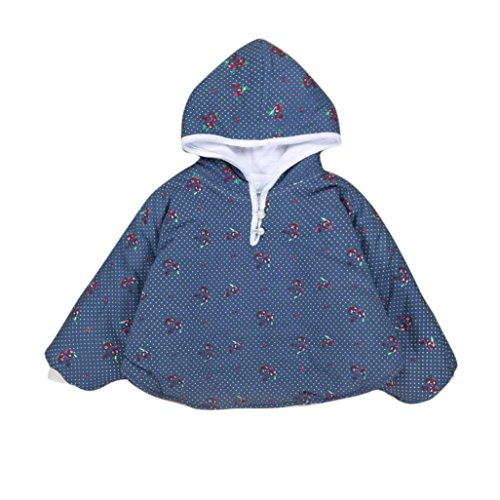 Hunpta Baby Kinder Mädchen Reversible Kapuzen Umhang Poncho Jacke Outwear Mantel Kostüm 0-3Y (80-100CM, Navy) (Hut Blumen-reversible)