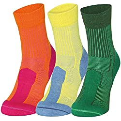 Merino Wool Light Cushion Socks (EU 35-38, Naranja/Fucsia - 1 Par)