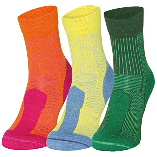 Merino Wool Light Cushion Socks (EU 43-47, Mehrfarbig (2 x Grüne, 1 x Gelb) - 3 Paare) (Socken Light)