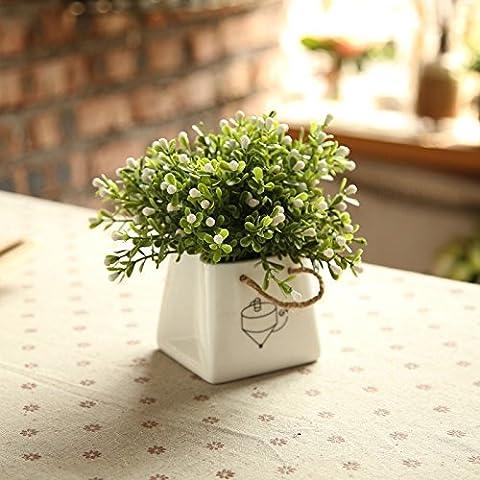 KXZZY Home decorazioni ornamenti floreali di emulazione Kit , Mini Potted White Tsutsu Fioriere (Basso profilo)