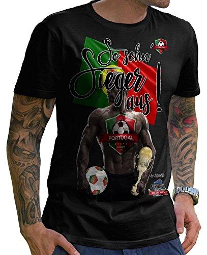 Stylotex Herren T-Shirt Basic So sehn Sieger aus Guy Portugal, Farbe:schwarz;Größe:XXL