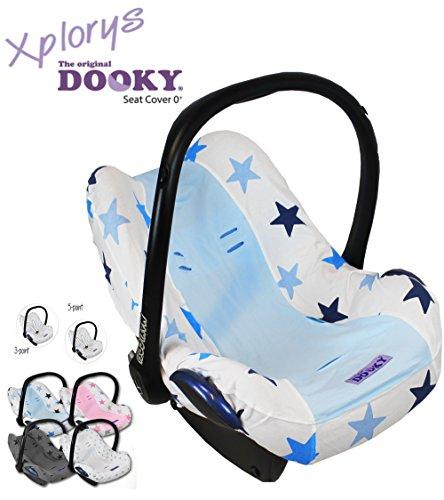 Original DOOKY BabyFit ** UNIVERSAL Schonbezug / Ersatzbezug für 3 und 5 Punkt Gurt System ** Babyschale, Autokindersitz z.B. für Maxi-Cosi, Römer etc.** BLUE STARS **