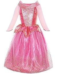 Katara - Déguisement Disney pour filles - la Belle au Bois Dormant robe d'Aurore pour Enfant/Tenue de Princesse de Contes de Fées/Rose en Tulle avec Paillettes et Ornaments Dorés - Tailles au Choix