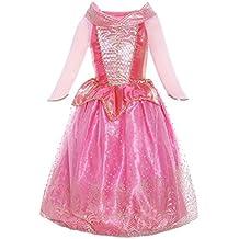 Katara 1709 Costume Vestito da Principessa Aurora di La Bella Addormentata Disney per Bambine - Abito Rosa Con Gonna di Tulle per Feste a Tema, Carnevali, Compleanni - per Bambine da 8-9 Anni