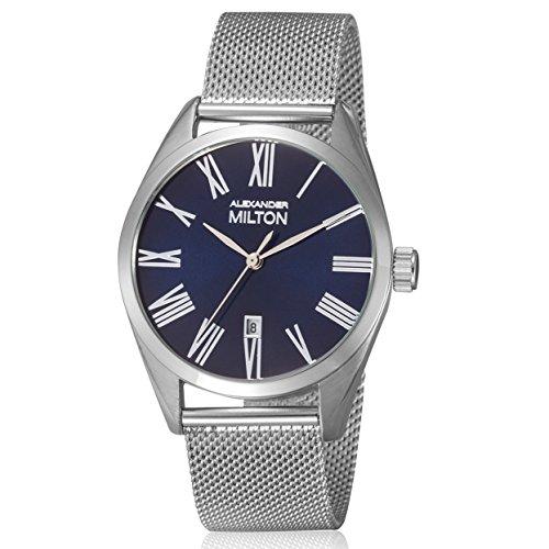 ALEXANDER MILTON - montre homme - PLUTUS, argente/bleu