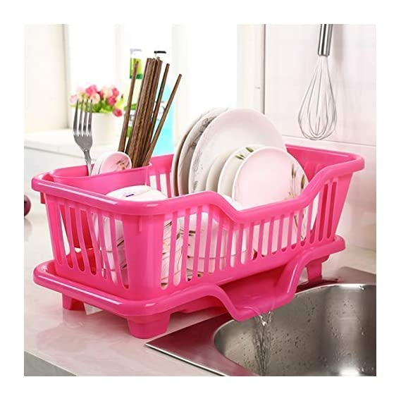 SQUICKLE BS Plastic Kitchen Sink Dish Drainer - Drying Rack Washing Basket - Dish Drainer Rack with Tray