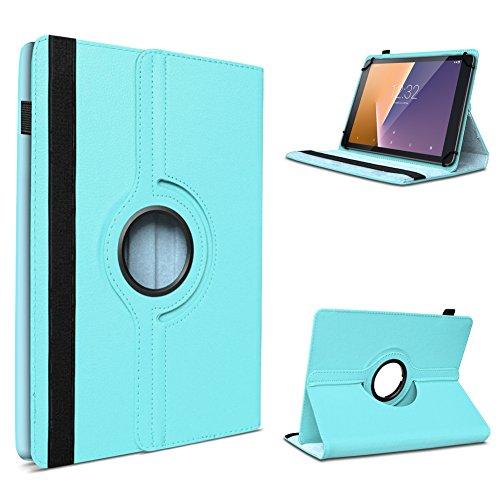 UC-Express Vodafone Tab Prime 6/7 robuste Tablet Schutz Hülle aus hochwertigem Kunstleder Tasche mit Standfunktion 360° drehbar Universal Cover Case kombiniert Schutz und Design, Farben:Türkis