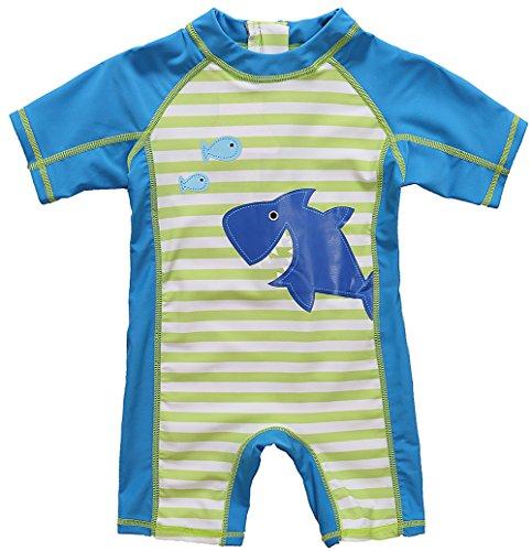 CharmLeaks Baby - Einteiler Kurzarm Badeanzug für Säugling Kinder mit Haifisch Druck und Streifen UV-Schutz 50+ 6-12 Monate