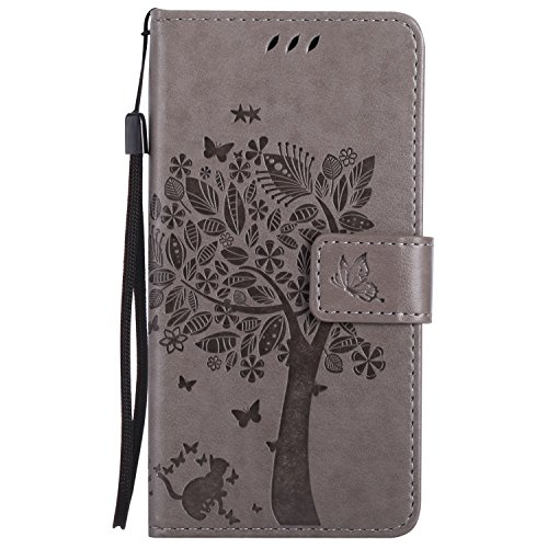 Guran® PU Leder Tasche Etui für Microsoft Lumia 640 Dual-SIM Smartphone Flip Cover Stand Hülle und Karte Slot Case-grau