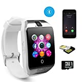 TKSTAR Smart Watch Telefon, Fitness Tracker Uhr, Touchscreen Smart Watch Telefon, wasserdicht Smart Business Uhr mit Bluetooth Kamera Unterstützung SIM TF Karte Smartwatch für Android Samsung LG Google Pixel und iPhone 7 7Plus 6 6s 6s Plus Q18 (Weiß)