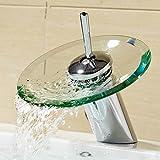 Wasserfall Monobloc Sicherheit Glas Waschbecken water-tap Mischbatterie Wasserhahn