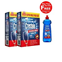 Crystale Dishwasher Tablets 100's Pack of 2 with Free Crystale Dishwasher Rinse Aid 500ml Worth Rs.329