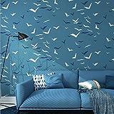 HSSKKTapeten 3D Wallpaper Home Dekorative Seagull Art Wallpaper Kinderzimmer Blau Wohnzimmer Schlafzimmer Esszimmer Dekoration,J00701