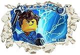 Unified Distribution Lego - Ninjago - Jay - Be Lightning - Wandtattoo mit 3D Effekt, Aufkleber für Wände und Türen Größe: 92x61 cm, Stil: Durchbruch