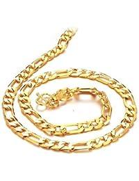 bigsoho Jewellery 18k Gold Plated Steel Wheat Golden Link Chain Women/Men Necklace