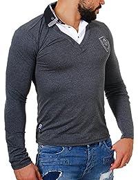 Carisma Herren 2in1 double Look Longsleeve langarm Shirt mit Hemdkragen slimfit stretch Kontrast Optik