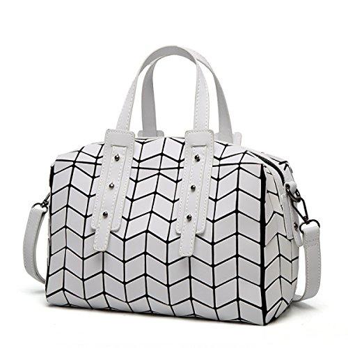 2017 Geometrisch Lingge Kissenbeutel Große Kapazität Schulter Tragbar Messenger Tasche Handtaschen Mode Einfach Personalisiert Mehrfarben- Einstellbarer Schultergurt White