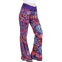 beautyjourney Pantalones casuales de mujer, Pantalones de chándal de cintura alta Legging Pijama pantalones de dormir Llamaradas ocasionales de pierna ancha