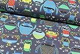 Baumwoll-Jersey Happy Monsters dunkelblau, VE: 1m