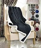 Catalonia Kuscheldecke, Dual Microplush Fleece Sherpa, Lammfell flauschig Überwurf Decke, wendbar Weich warmen Decke für Bett Sofa, 127x152 cm