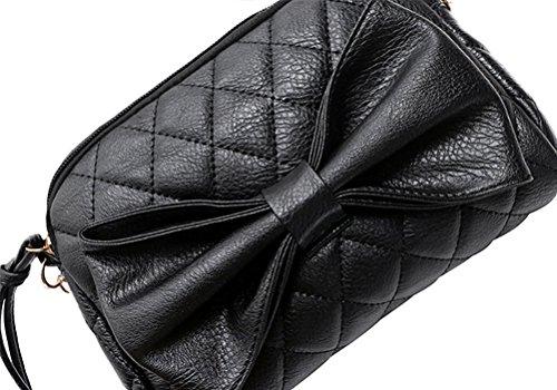Honeymall kleine Damen Tasche Citytasche bag Umhängetasche Unterarmtasche Schultertasche Handtasche Clutch Schwarz Schwarz