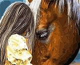 MASHICHEN Malen-nach-Zahlen DIY Mädchen und Pferd Bilder auf Leinwand Home Decoration Wandkunst digitales Ölgemälde-(40X50Cm) mit Rahmen