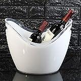 JLCP Eis Schaufel Kunststoff Ice Pellet Barrel Familienfeier Picknick Reise-Bar Wein Cocktail Kühler Platte Speichergerät 8L,White