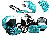 +++ SALE Raff White Lux System Kinderwagen Babywagen Buggy, Autositz Kinderwagen System 3 in1 + Wickeltasche + Regenschutz +Insektenschutz (Set 3w1: Wanne + Sportsitz + Babyschale, Malachit)