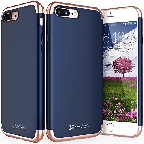 "iPhone 8 Plus / 7 Plus Hülle, Vena [Mirage][UV] Dock-Freundlich Slim-Fit Schutz Hart Case Cover für Apple iPhone 8 Plus / 7 Plus (5,5"") (Jet Schwarz/ Rosengold) Navy blau / Rosengold"