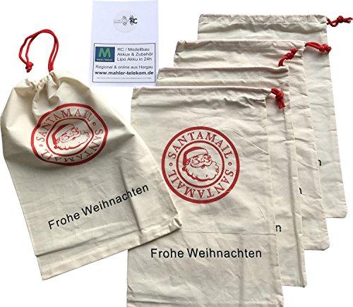 5x Nikolaussäckchen   Weihnachtssäckchen   Nikolausbeutel   30x20cm   Weihnachts-Beutel   wiederverwendbar   Christmas-Beutel   Stofftasche   Santa-Mail   Geschenkverpackung   X-MAS Geschenksack (5x Kostüme)
