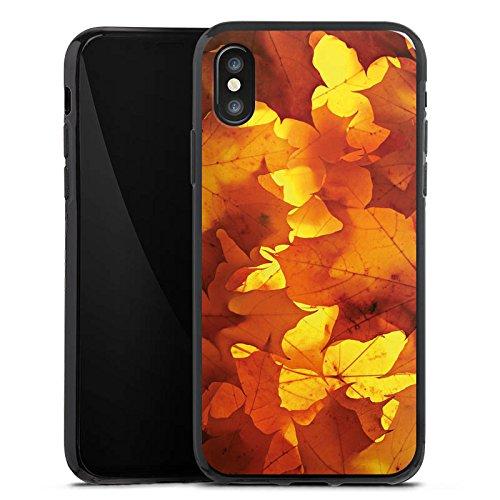 Apple iPhone X Silikon Hülle Case Schutzhülle Herbst Blätter Laub Silikon Case schwarz