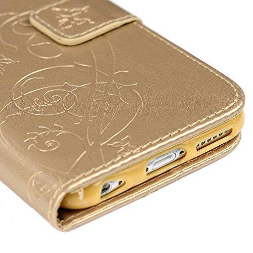 Coque iPhone 6, Coque iPhone 6S, Bookstyle Étui Fleur et Papillon Housse Imprimé en PU Cuir Case à rabat Coque de protection Portefeuille TPU Silicone Case pour iPhone 6 / 6S - Rouge Or