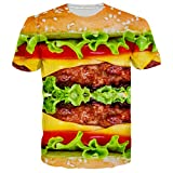 Loveternal Unisex Hamburger T-Shirt 3D Muster Gedruckt Casual Grafik Kurzarm Tops Tees M